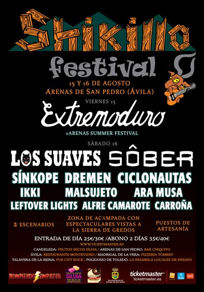 Cartel-Extremoduro-Festival-Shikillo-Arenas-de-San-Pedro-Avila-año-2014-08-15