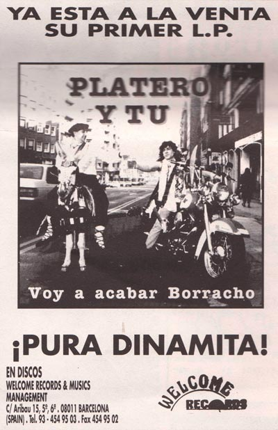 Cartel-Platero-y-Tu-anuncio-publicacion-Primer-LP-Welcome-Records-año-1991-Junio