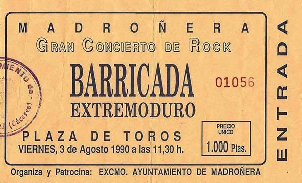 Entrada-Extremoduro-año-1990-08-03-Plaza-de-toros-de-Madroñera