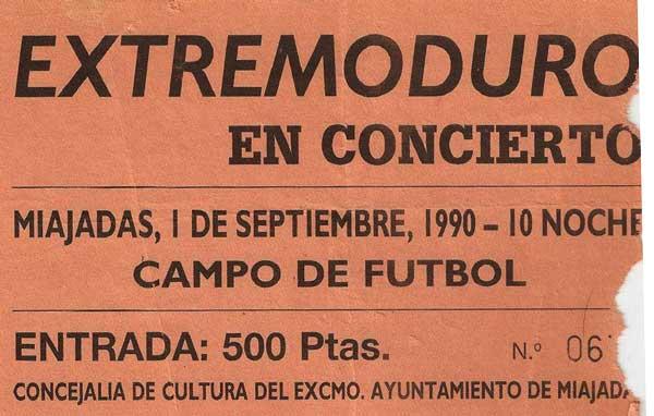 Entrada-Extremoduro-año-1990-09-01-Campo-de-futbol-Miajadas-Caceres