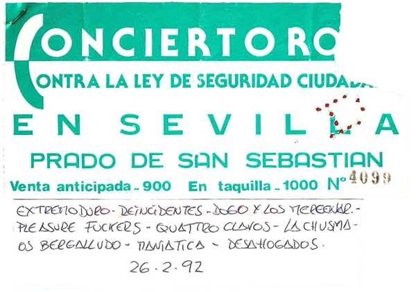 Entrada-Extremoduro-año-1992-02-26-Prado-de-San-Sebastian-Sevilla-ley-seguridad-ciudadana