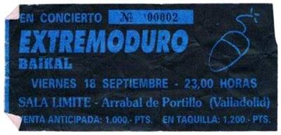 Entrada-Extremoduro-año-1992-09-18-Sala-Limite-Arrabal-de-Portillo-Valladolid