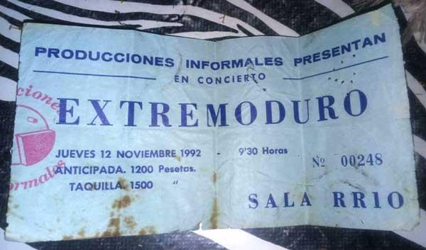 Entrada-Extremoduro-año-1992-11-12-Sala-RR10