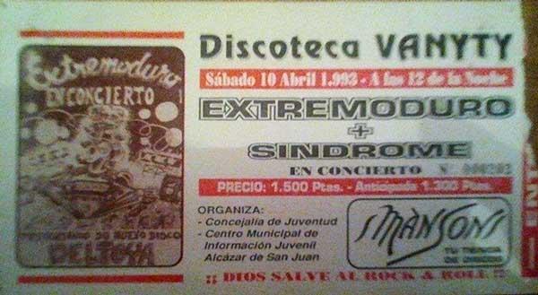 Entrada-Extremoduro-año-1993-04-10-Vanyty-Alcazar-de-San-Juan-Ciudad-Real
