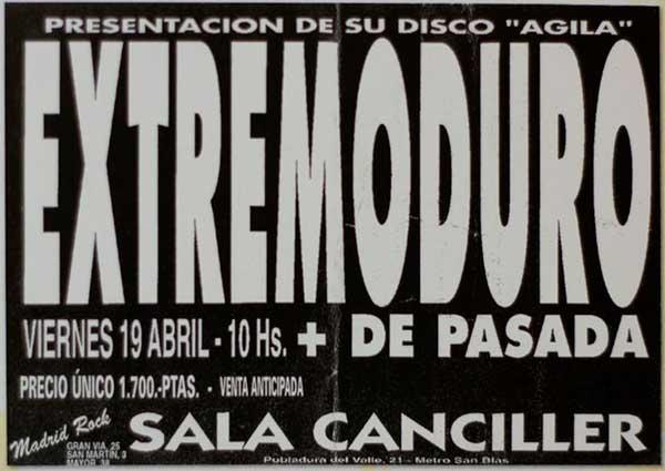 Entrada-Extremoduro-año-1996-04-19-20-Sala-Canciller-Madrid