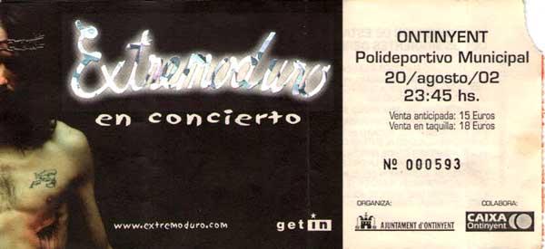 Entrada-Extremoduro-año-2002-08-20-Ontinyent-Valencia