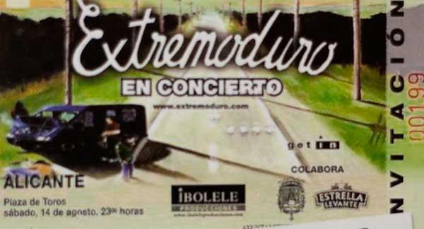 Entrada-Extremoduro-año-2004-08-14-plaza-de-toros-Alicante