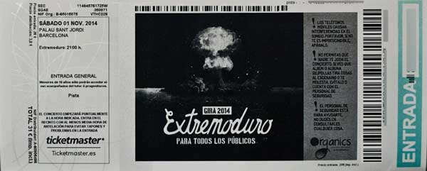 Entrada-Extremoduro-año-2014-11-01-Palau-Sant-Jordi-Barcelona