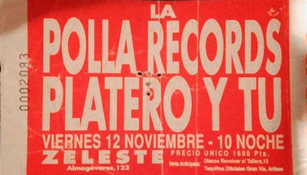 Entrada-Platero-y-Tu-y-La-Polla-año-1993-11-12-sala-Zeleste-Barcelona