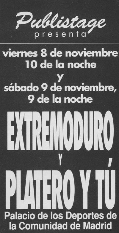 Platero-y-Tu-y-Extremoduro-anuncio-cartel-madrid-8-y-9-de-noviembre-de-1996
